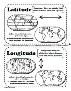 Latitude and Longitude Maps and Globes - A Printable Book for Introducing Map Skills Geography Activities, Geography For Kids, Geography Lessons, Teaching Geography, Maps For Kids, 3rd Grade Social Studies, Social Studies Classroom, Social Studies Activities, Teaching Social Studies