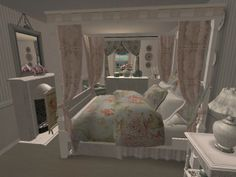 Shabby Chic Bedroom view 2. Virtual Room Design Home Décor using The Sims 2.