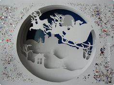 3d Paper Art, Paper Artwork, Paper Crafts, Christmas Scenes, Christmas Cards, Christmas Float Ideas, Kirigami Templates, Shadow Box Memory, Paper Cutting Patterns