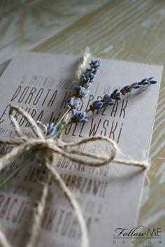 Rustykalne zaproszenia ślubne z lawendą, Zaproszenia ślubne z kolekcji Natura / Rustic Lavender Wedding Invitation, Rustic Decorations & Details