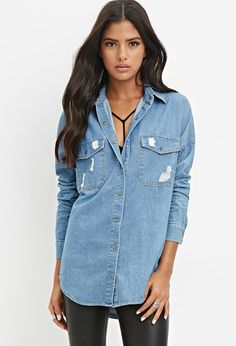 Distressed Denim Shirt | Forever 21 | #foreveryou