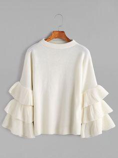 Romwe White Layered Ruffle Sleeve Pullover Sweaterone-size