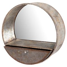 Featuring 1 drawer and a round silhouette, this metal wall mirror brings handsome style to your parlor or hallway. Hang it alone for a rustic-chic focal poin...