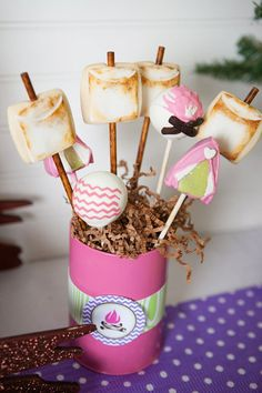 S'mores pops for a glamping party