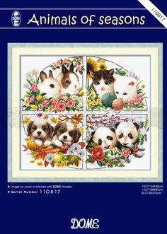 Dome 110817 - Animals of Seasons Cross Stitch Magazines, Cross Stitch Animals, Cross Stitch Patterns, Stitching Patterns, All Design, Cross Stitching, Christmas Stockings, Dog Cat, Projects To Try