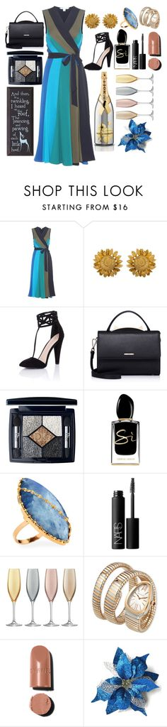 """Every element of blue"" by pulseofthematter ❤ liked on Polyvore featuring Diane Von Furstenberg, Little Mistress, WithChic, Christian Dior, Giorgio Armani, Lana, NARS Cosmetics, LSA International and Bulgari"