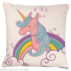 Unicorn-rainbow-double-face-coussin-ajouter-du-texte-choix-cadeau-personnalise