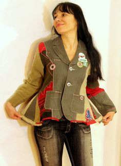 Super recycled jacket. made from recycled sweaters and green jeans. Appliqued patchwork. Unique cut and esign. Hippie boho style. One of a kind.
