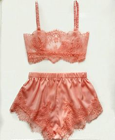 "This lingerie set was inspired by vintage glamour of the 1930s. Bralette made from delicate Chantilly lace in flirty peach color, with silk bra straps. Classy French knickers made from soft and comfortable silk satin, on the sides decorated with lace. The bra has a plush elastic band, satin elastic straps which are fully adjustable, and a hook and eye closure at the back. In this set you feel yourself like a vintage diva. Size Guide: Extra Small - 34-35""Bust, 24-25 Waist, 33-34 Hips Small…"