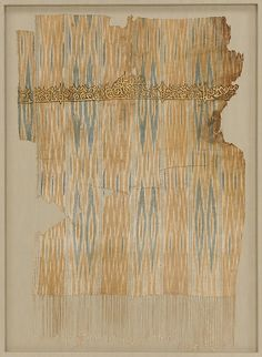 Tiraz Textile Fragment  Object Name:Tiraz fragment Date:late 9th–early 10th century Geography:Attributed to Yemen Culture:Islamic Medium:Cotton, ink, and gold; plain weave, resist-dyed (ikat), painted Inscription: black ink and gold leaf; painted Accession Number:29.179.9