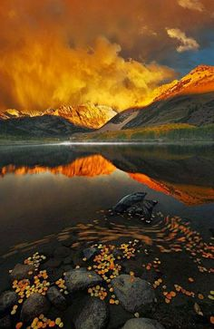 Fall reflections, lake mountains, Google+