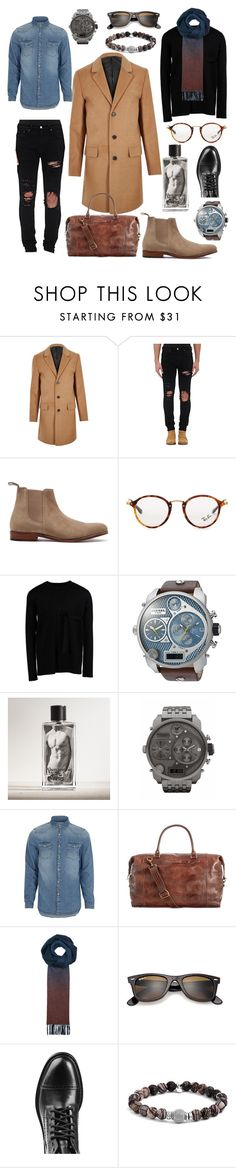 """#woolcoat #denimshirt #blackdestroyedjeans #chelseyboots #blackboots #blackpull #scarf #dieselwatch"" by kellyfromtheblock on Polyvore featuring River Island, AMIRI, Grenson, Ray-Ban, Lee Roach, Diesel, Abercrombie & Fitch, Patricia Nash, Paul Smith and Marc Jacobs"