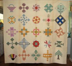 Sampler c. 1930's with great colors! #vintagequilts