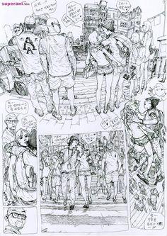 Dive into The Art of Kim Jung Gi, a korean artist born in 1975 in Goyang-Si in the province of Kyongki-Do. Drawing Skills, Figure Drawing, Drawing Sketches, Street Art Graffiti, Comic Books Art, Comic Art, Junggi Kim, Comic Layout, Kim Jung
