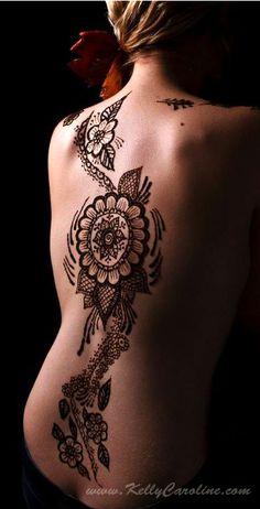 Image detail for -henna, floral, back, body art, ann arbor