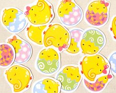 Cute Chicks Sticker Pack of 18  Kawaii Easter by BeagleCakesArt