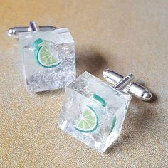 Gin & Tonic with Ice and Lime Cufflinks