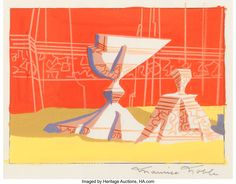 Maurice Noble Road Runner/Wile E. Coyote Short Background Concept/Color Key Painting (Warner Brothers, 1950s).