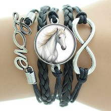 Love Horse Big Infinity Bracelets Black Leather Cords Wrap Bangle for women 2015 New Fashion Jewelry Gift for Christmas for her(China (Mainland))