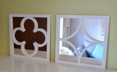 """LOTS Mirrors from IKEA and 12"""" x 12"""" O'verlay square in 1/4"""" thickness Quatrefoil or Diamond Pattern"""