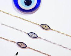 Blue Lucky Evil Eye Bracelet Cz 925 Silver Rose Gold