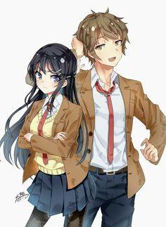 Adoro esse anime : Seishun buta yarou wa bunny girl senpai no yume wo minai Couple Manga, Anime Love Couple, Cute Anime Couples, Manga Poses, Anime Poses, Manga Anime, Anime Art, Mai Sakurajima, Girl Artist