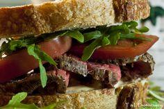 Leftover Roast Beef Tenderloin Sandwich, Rocket, Heirloom Tomates, Dijon Aioli