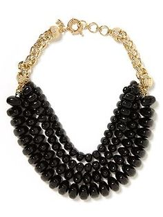 Bold Bead Necklace comes in black and mint green   Banana Republic