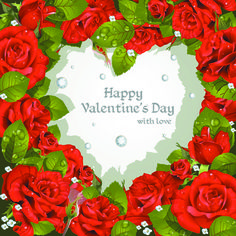 Roses with Valentine Day Cards vector graphics 01
