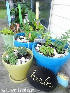 container herb garden - love the colorful pots and paint stick labels