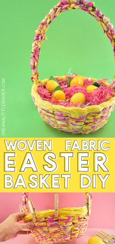 Ever wanted to make an Easter basket from scratch? This DIY woven Easter basket is gorgeous, not too difficult to make and in YOUR PERFECT colors! Easter Baskets To Make, Easter Crafts For Kids, Easter Ideas, Easter Decor, Easter Recipes, Diy Projects For Adults, Cool Diy Projects, Sewing Projects, Craft Stick Crafts