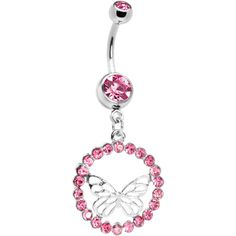 Pink Circular CZ Encased Butterfly Belly Ring #pink #butterfly #bellyring