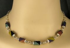 Pretty peyote tube bead necklace - don't bother with link - picture only.