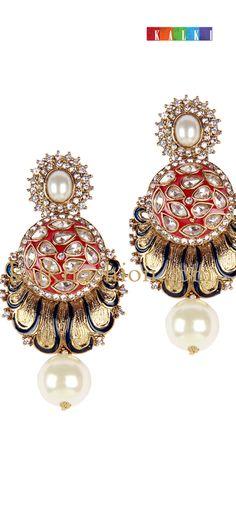 Buy it now  http://www.kalkifashion.com/uncut-diamond-earing-with-jhumka.html  Uncut diamond earing with jhumka