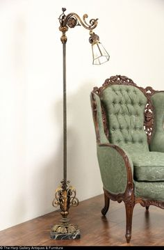Antique Bridge Lamp Floor Lamp Vintage Early 1900s Cast