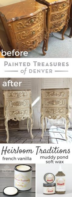 These French Provincial night stands got a paint makeover with Heirloom Traditions French Vanilla chalk type paint. I glazed the molding w/ Valspar Silver Metallic Glaze, then rubbed soft Muddy Pond Heirloom Traditions Soft Wax on the molding. I let cure for 72 hours and applied PolyVine Wax Finish Varnish. Use my coupon code PAINTEDTREASURES for 10% off your Heirloom Traditions order. painted furniture ideas & furniture makeover