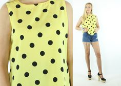 $28, Vintage 90s Polka Dot Blouse Sleeveless Top Yellow Black Shirt Camisole 1990s Large L Yves St. Clair by ScarletFury on Etsy