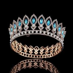 FUMUD Large Wedding Pageant Tiara Diadem 21 Blue Rhinestone Crown Gold bridal Crown *** Click image for more details. (This is an affiliate link) Wedding Headband, Gold Bridal Crowns, Wedding Crowns, Diamond Crown, Gold Crown, Crystal Crown, Royal Jewels, Fantasy Jewelry, Tiaras And Crowns