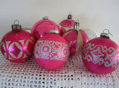 Vintage Shiny Brite Ornaments Pink & Silver Glitter by myfancies