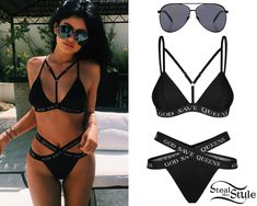 Kylie Jenner posted a picture a couple of days ago wearing the GSQ Bra ($70.09) and GSQ Panties ($45.43) by God Save Queens, with Quay x Shay Mitchell Vivienne Sunglasses ($59.99).