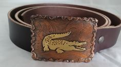 Copper and Brass Alligator Belt Buckle with Brown Bridle Leather Belt by DKHandcraftedJewelry on Etsy