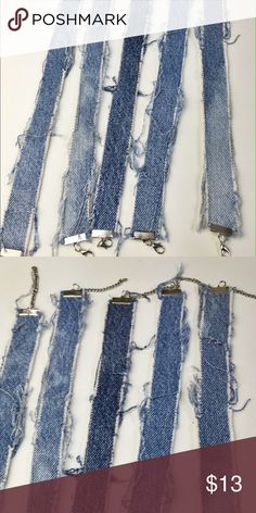 """Handmade Denim Choker 1"""" denim chokers w/adjustable links. Or purchase for $10 off PM! Phyliascloset Jewelry Necklaces"""