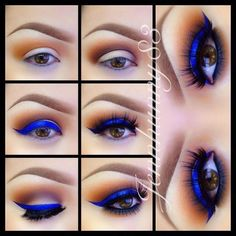 """✨Pictorial✨ Shadows are from @Jennifer Edge Brushes 35W Palette, Eyeliner is @sophia oranje Cosmetics """"Extreme Blue"""" Liquid Eyeliner winged out and cleaned up with a flat concealer brush  MACs Studio Finish Concealer in NC15, Lashes are from @flutterlashesinc in """"Natalie"""