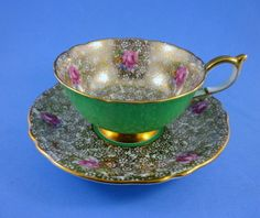 Unusual Gold & Floral Chintz with Green Exterior Paragon Tea Cup and Saucer Set | eBay