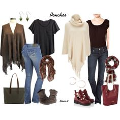 Ponchos, scarves, & bootcut jeans-Over 40 Fashion Fall/Winter outfits by sheila-r on Polyvore featuring H&M, Wallis, Express, Report, Hinge, Forever 21 and Rampage