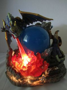 Wizard Fire Breathing Dragon Illuminated Magic Globe Classic Treasures Musical