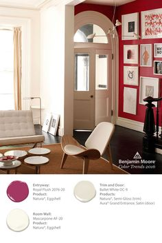 We are loving 'Royal Flush' in Natura from Benjamin Moore;s Color Trends Complimented here by 'Mascarpone' helps to level out the flow while 'Ballet White' provides the perfect balance for the trim & door color. Interior And Exterior, Interior Design, Benjamin Moore Colors, Living Spaces, Living Room, Home Accents, Color Trends, Furniture Design, Sweet Home