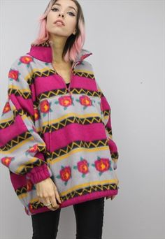 53e47ec98504 vintage 90s oversized multicolour colour colourful jazzy fleece ...