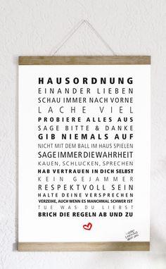 Hausordnung -  Druck von Formart   Die Grundregeln des zusammenlebens liebevoll gestaltet und aufs Papier gebracht. Druck auf hochwertigem Fineart Papier.   *Bitte beachtet: Der Bilderrahmen...