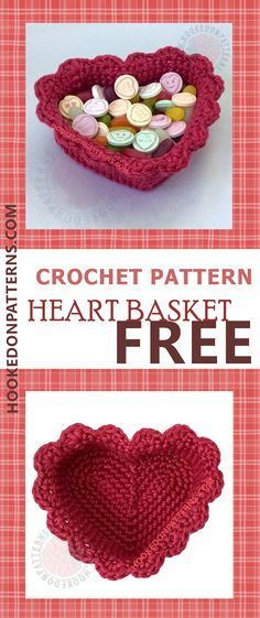 Free Crochet Heart Basket Pattern Free crochet patterns for beginners, a frilly heart basket. This heart basket is based on my free heart coasters crochet pattern and both are free to view at Holiday Crochet, Crochet Gifts, Cute Crochet, Crochet Bags, Crochet Hooks, Crochet Top, Crochet Patterns For Beginners, Knitting Patterns, Free Knitting